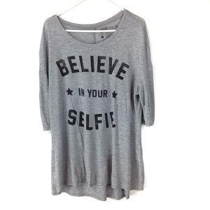 Gray Believe in your Selfie graphic tee